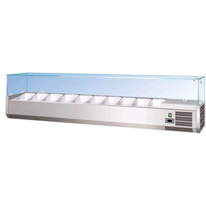 REFRIGERATED COUNTERTOP INGREDIENT DISPLAY - STAINLESS STEEL - STATIC COOLING - MOD. RI Series 380 - GN 1/3 (cm 32,5x17,6) - FLAT GLASS (CAN ALSO BE USED WITHOUT GLASS) - TEMPERATURE  +2°/+8°C - CE APPROVED