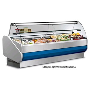 REFRIGERATED SERVE-OVER COUNTER - MOD. MASTER - SEMI-VENTILATED COOLING - BOTTOM HINGED CURVED GLASS FORNT - LAMINATE REAR WORK TOP - NON-TOXIC PAINTED METAL SHEET INTERIOR - TEMP. RANGE °C +3/+5 - NON MULTIPLEXIBLE - EC standards - INTERIOR DEPTH: 56cm