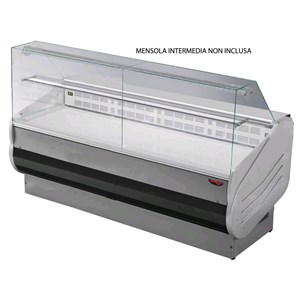 REFRIGERATED SERVE-OVER COUNTER - MOD. SALINA VD - SEMI-VENTILATED COOLING - FLAT GLASS FRONT - LAMINATE WORK TOP - NON-TOXIC PAINTED LAMINATE INTERIOR - TEMP. RANGE °C +3/+5 - NON MULTIPLEXIBLE - EC standards - DISPLAY DECK DEPTH: 56cm
