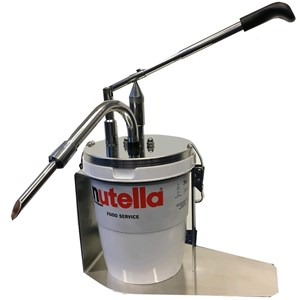Donut filler (with injector) - Mod. DIPENSER NUTELLA - Suitable for 3Kg Ferrero Nutella buckets  - Filling portions adjustable from 12 to 20 grammes - Dimensions cm L 30 x D 17 x 37 h