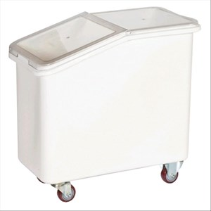 POLYETHYLENE INGREDIENT BINS WITH HOPPER - MOD. TR102 - TRANSPARENT SLIDING POLYCARBONATE LID - N. 4 CASTORS - DESIGNED TO FIT UNDER WORKTOPS - CAPACITY Lt. 102 - DIMENSIONS cm. L 74 x D 42 x 71 h