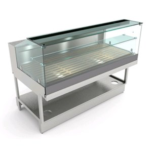 BREAD DISPLAY - MOD. BREAK PANE VBD H 112 - FINISHING PANELS NOT INCLUDED - LOW FLAT HINGED GLASS FRONT - PAINTED STEEL TUBULAR BASE - STAINLESS STEEL TOP - STEEL CRUMB TRAY AND REMOVABLE BIRCH PLYWOOD TRAYS - DIM. Cm D 68,8 x H 112,7