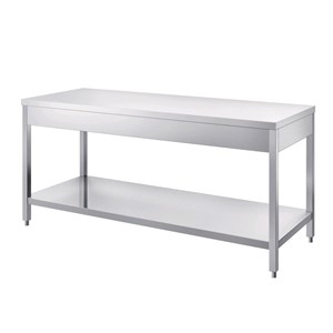 Stainless steel work table - square legs 4x4cm - bottom shelf - worktop thickness cm 4