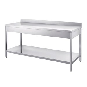 Stainless steel work table - square legs 4x4cm - bottom shelf  - worktop thickness cm 4 - with upstand