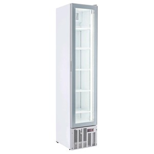 UPRIGHT FRIDGE - WHITE PAINTED STEEL - FOR BEVERAGES - STATIC-COOLED WITH FAN - MOD. ESP COOLER - CAPACITY Lt 160 - N. 1 GLASS DOOR - TEMPERATURE 0/+10°C - DIM. cm L 39 x D 46 x H 188 - CE approved