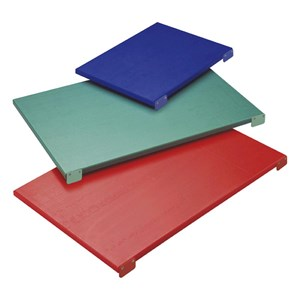 POLYETHYLENE CUTTING BOARDS WITH 2 STOPPERS - Colours available: WHITE, BLUE, GREEN, RED and YELLOW (Please specify at the time of your order)