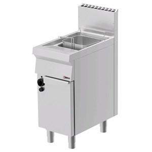GAS FRYER - MOD. FRG71OE - N. 1 tank Lt. 15 oil capacity - N. 1 ambient cupboard with door - Power kW 14 - DIMENSIONS: cm L 40 x D 70 x H 90 - CE APPROVED