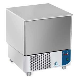 BLAST CHILLER - MOD.AB05 - Air-cooled - Tray capacity: N.5 x GN 1/1 (cm 53x32,5) or N. 5 cm 60x40 - Blast chilling: +70° +3° (Kg.23) - Shock freezing: +70° -18° ( Kg 12 ) - External dimensions cm L 77 x D 76x h 86/90 - CE approved