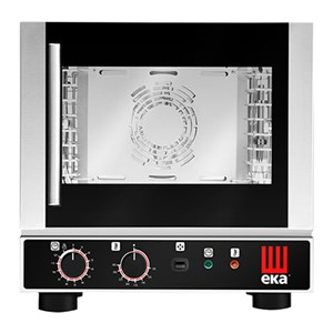 Electric convection oven with INDIRECT HUMIDIFICATION-code EKF412ALU-for Delicatessen, bakery and pastry-capacity 4 trays GN 1/# 2/32 cm x 26.5-230 V single phase Power Kw 50 Hz-2.6-side opening-Dim. external cm. L 46 x w x 46.2 51.2 h