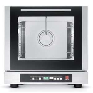 DIGITAL ELECTRIC CONVECTION OVEN WITH DIRECT STEAM INJECTION - Cod. EKF423DUD - FOR GASTRONOMIES, BAKERIES AND PATISSERIES - Capacity n.4 traysGN 2/3 cm 42,9x 34,5 - Power Kw 2,9 - SINGLE PHASE supply 230 V 50 Hz - Bottom-hinged oven door - External dimensions cm. L 59 x D 70,3 x 59 h