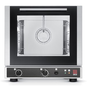 ELECTRIC CONVECTION OVEN WITH DIRECT STEAM INJECTION - Cod. EKF423UD - FOR GASTRONOMIES, BAKERIES AND PATISSERIES - Capacity n.4 traysGN 2/3 cm 42,9x 34,5 - Power Kw 2,9 - SINGLE PHASE supply 230 V 50 Hz - Bottom-hinged oven door - External dimensions cm. L 59 x D 70,3 x 59 h