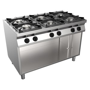GAS COOKER, FREE-STANDING, 6-BURNERS - MOD. F7/KUG6BA - Ambient cupboard - Without pilot light - Power kW 28,5 - Dimensions: cm L 120 x D 70 x H 85 - CE approved