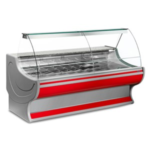 REFRIGERATED SERVE-OVER DISPLAY COUNTER - IDEAL FOR THE DISPLAY OF COLD CUTS, CHEESE AND GASTRONOMY PRODUCTS - MOD. NEPAL_VT - ALUMINIUM LOAD-BEARING STRUCTURE - GRANITE WORKTOP - 304 STAINLESS STEEL DISPLAY DECK - BOTTOM-HINGED CURVED GLASS - BUILT-IN MOTOR - SINGLE PHASE SUPPLY V 230/50 Hz - VENTILATED COOLING - TEMPERATURE °C 0/+2 - EC STANDARDS - DISPLAY DECK DEPTH: 85,5 cm