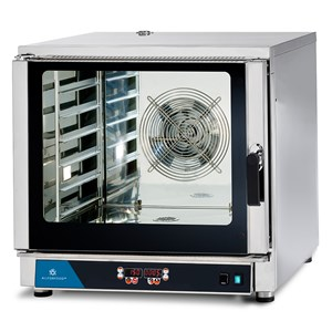 ELECTRIC CONVECTION OVEN - SUITABLE FOR GASTRONOMY AND PASTRY - MOD. FED 6 DIG - DIGITAL CONTROL - DIRECT STEAM - 9 COOKING PROGRAMMES - THREE PHASE SUPPLY 400V/3/50Hz - POWER KW 7,65 - CAPACITY: 6 X (GN 1/1 ; 60X40) - DIMENSIONS Cm L 84 x D 91 X h 83