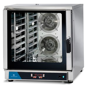 ELECTRIC CONVECTION OVEN - SUITABLE FOR GASTRONOMY AND PASTRY - MOD. FED 7 DIG - DIGITAL CONTROL - DIRECT STEAM - 9 COOKING PROGRAMMES - THREE PHASE SUPPLY 400V/3/50Hz - POWER KW 10,7 - CAPACITY: 7 X (GN 1/1 ; 60X40) - DIMENSIONS Cm L 84 x D 91 X h 93
