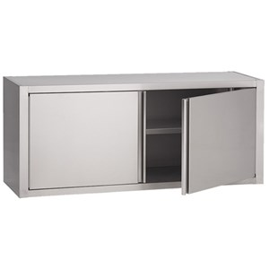 Stainless steel wall shelf unit - door - smooth stainless steel shelf - smooth middle shelf