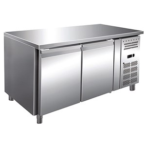 REFRIGERATED COUNTER - AISI 304 STAINLESS STEEL - PASTRY-SPECIFIC - VENTILATED COOLING - Mod.RVZ2100TN - N. 2 DOORS - CAPACITY Lt 428 - TEMPERATURE -2°/+8°C - Dim. cm. L 151 x D 80 x h 86 - CE approved