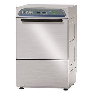 ELECTRONIC STAINLESS STEEL GLASS WASHER - MOD. 28AL - SINGLE PHASE SUPPLY - ELECTRONIC CONTROL SYSTEM - CLEARANCE MAX HEIGHT cm 23,5 - SQUARE RACK cm 40x40 - CYCLE (sec) 90/120/150/180 - ADJUSTABLE DETERGENT AND RINSE AID DOSER - Total dimensions cm L47 x D55,5 x h65
