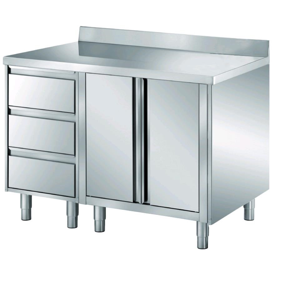 Stainless Steel Work Table With Swing Doors Drawer Drawer Unit W - Stainless steel work table with drawers