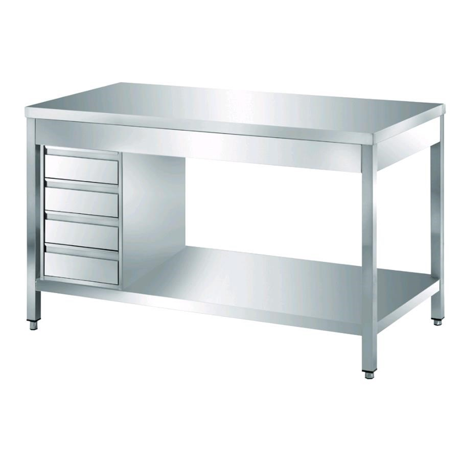 Stainless Steel Work Table Square Legs Xcm Drawer Drawer Unit - Stainless steel work table with drawers